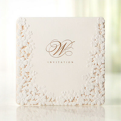 Custom Embossed Flower Lace White Wedding Invitations Cards Seals BH3301
