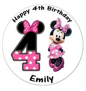 """Minnie Mouse 4th Birthday Personalised Edible Wafer Paper Topper 7.5/"""""""