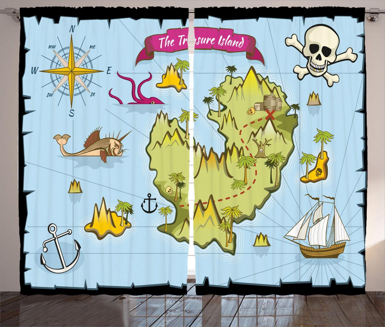 Maps Curtains 2 2 2 Panel Set Decoration 5 Größes Window Drapes 3210f4