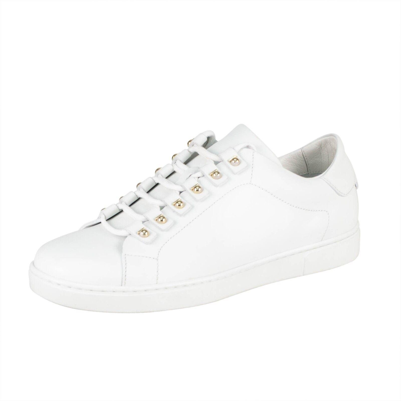 NIB SALVATORE FERRAGAMO 'Vulcano' White Leather Sneakers shoes 6 39  625