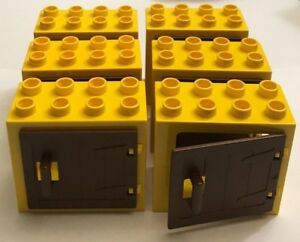 Details About New 6 Lego Duplo Yellow Window Door 2x4x3 With Brown Wooden Gate W Handle