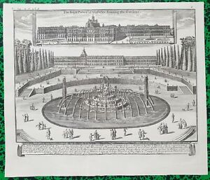 XVIII-eme-Superbe-Vue-Fontaine-Latona-amp-Chateau-de-Versailles-par-Bontes-1739
