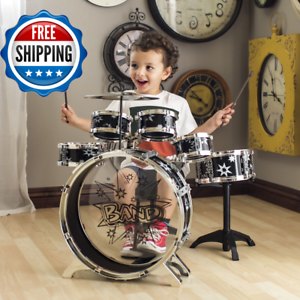 11pc kids drums for sale junior drum set with sticks and cymbal new black toy 787799966624 ebay. Black Bedroom Furniture Sets. Home Design Ideas