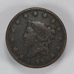 1822-1c-CORONET-HEAD-LARGE-CENT-NICE-VF-DETAIL-EARLY-COPPER-COIN-LOT-N432