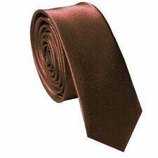 Classic Skinny Slim Tie Solid Color Men's Polyester  Woven Necktie  Brown