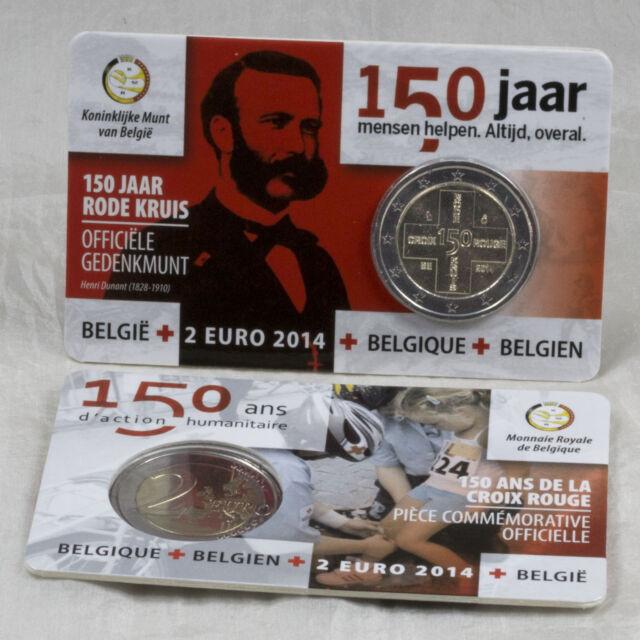 2 EURO GEDENKMÜNZE COIN BELGIEN BELGIUM 150 JAHRE ROTES KREUZ COINCARD 2014 RAR!