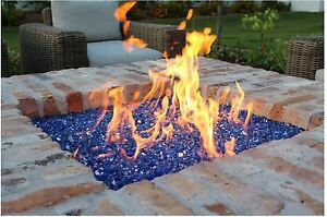 Exotic Cobalt Blue Reflective Tempered Glass Gas Fire Pit ...