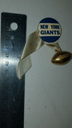 VINTAGE NEW YORK GIANTS FOOTBALL RIBBON PIN BADGE w MINI FOOTBALL ATTACHED LOOK!