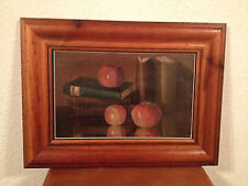 Antique 1901 Signed MS Oil on Canvas Still Life Painting of Books & Apples