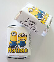 60 Minions Birthday Party Favors Candy Wrappers Labels - Candy Not Included