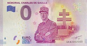 BILLET-0-EURO-MEMORIAL-CHARLES-DE-GAULLE-FRANCE-2018-NUMERO-2000