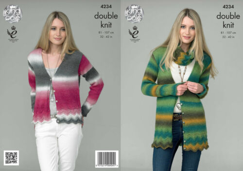 King Cole Ladies Double Knit Pattern Short or Long Cardigan /& Snood Riot DK 4234