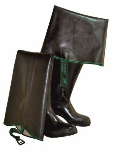 Black RUBBER FETISH Thigh Wader Waterproof Waders HIP BOOT 4,5 - 12 STRONG