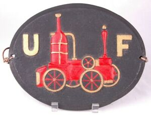 Vintage Cast Iron UF United Firefighter Insurance Steam Fire Engine Plaque/Sign