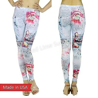 Be My Valentine Romantic NY New York Chic Floral Print Leggings Tight Pants USA