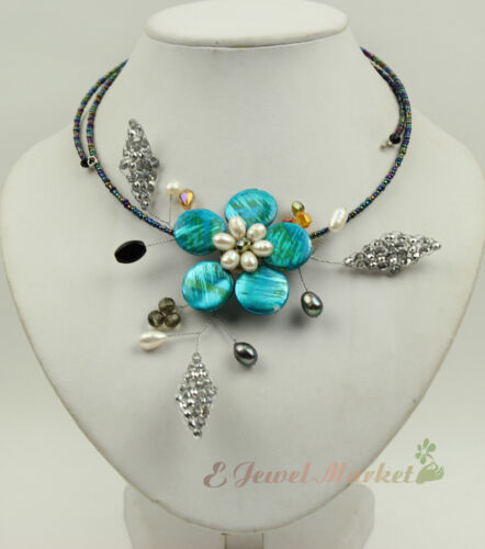 N13090730 blue MOP shell FW pearl crystal flower necklace