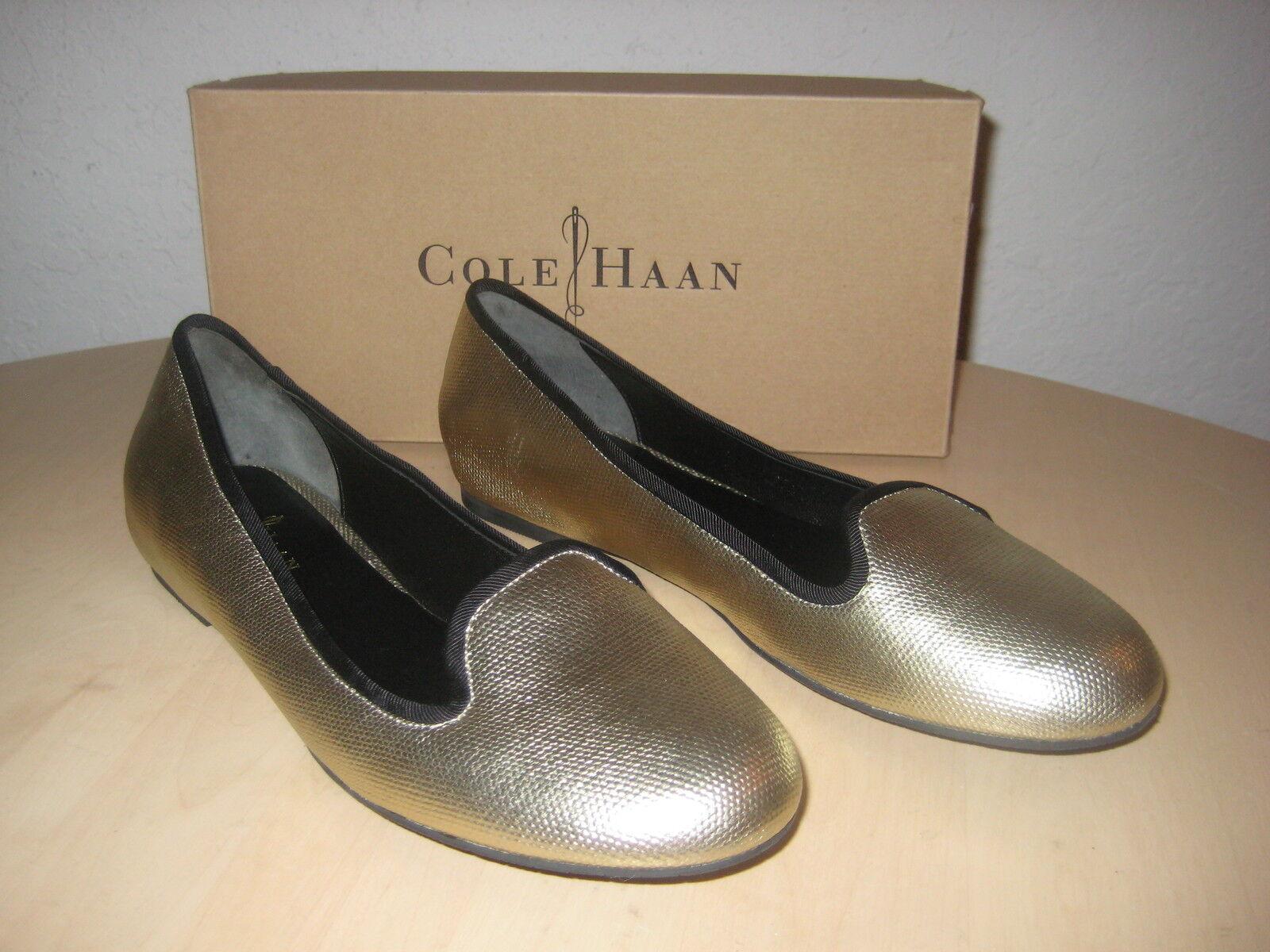 Cole Haan Schuhes Größe 8.5 M Damenschuhe NEU Air Morgan WEISS Gold Metallic Flats NWB