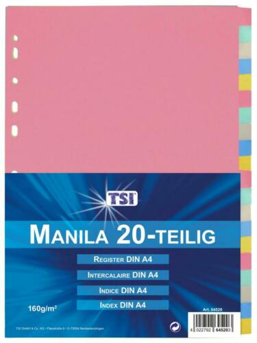 mit 20 blanko Taben Manila Karton Ordner-Register 160g//m/² DIN A4