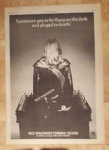 Rick-Wakeman-criminal-record-1977-press-advert-Full-page-28-x-38-cm-poster