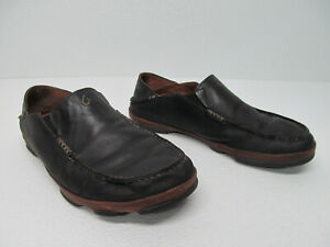 OluKai-Moloa-Black-Leather-Slip-On-Loafers-Size-Men-039-s-10-5-M