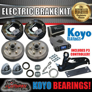 """10"""" 6 Stud Trailer Electric Brake, Coupling Kit & p3 Controller + Jap Bearings"""