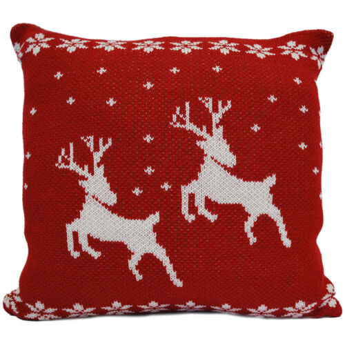 Red White Cushion Luxury Knitted Reindeer Christmas Bedding CLEARANCE Litecraft
