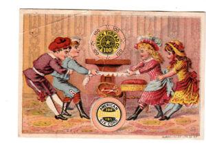 Merrick Spool Thread Boys vs Girls Tug of War  Vict Card 1880s