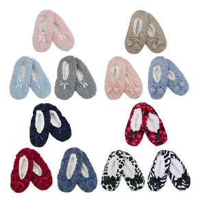 Ladies-Cosy-Supersoft-Novelty-Slippers-with-Grip-Red-Fur-Bow-Blue-Pink-Grey-Plus