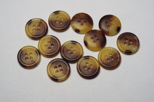 10pc 15mm Yellow /& Brown Mock Horn Bone Shirt Suit Cardigan Knitwear Button 3791