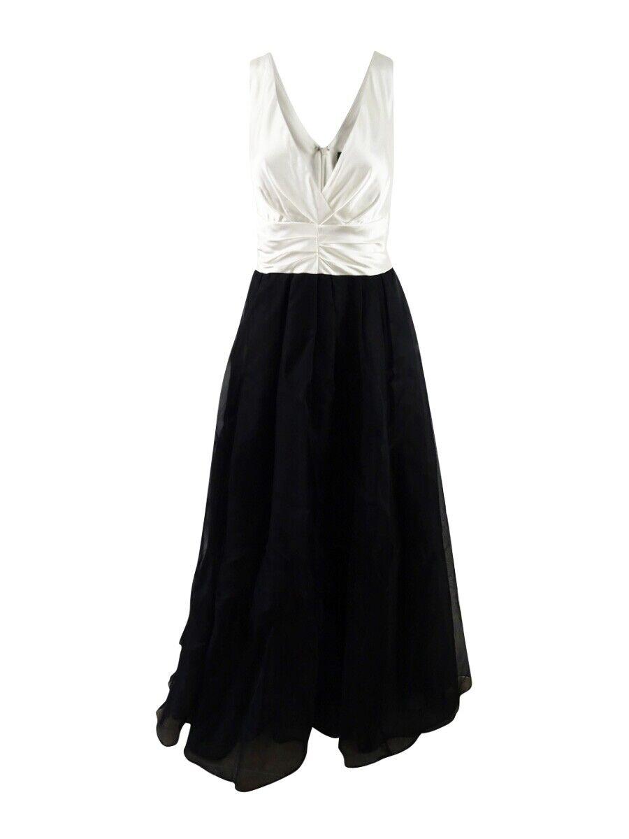 Adrianna Papell Woherren Sleeveless V Neck Gown 10, schwarz Cream