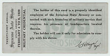 xRARE - 1929 Syracuse NY Auto Car Show Ticket - Military Credential 108th