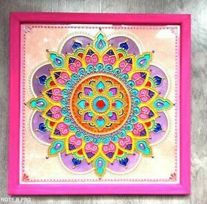 Mandala-painting-on-glass-Yoga-art-Handmade-Boho-Decor-Zen-Wall-Art-Zentangle