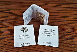 50-Personalized-Wedding-Daisy-Wildflower-Seed-Packet-Favors-Matchbook-Style