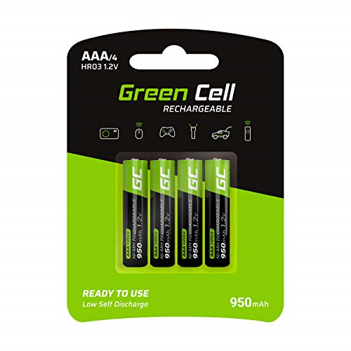 Green Cell 950mAh 1.2V Type AAA Pre-Charged Rechargeable Batteries, Pack of 4,