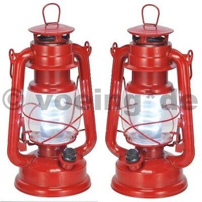 2x Dimmbare LED Sturmlampe Sturmlaterne mit 16 weißen LEDs im Öl-Lampen-Look rot