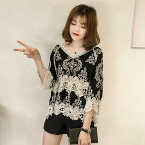 ZANZEA Women V-Neck Blouse Casual Shirts Basic Cotton Embroidery Hollow Out Tops