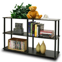 Espresso 2 Tier Display Rack Kid Bed Room Office Storage Organizer Book Shelf