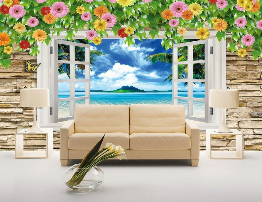3D - panorama - Fenster 0278 Fototapeten Wandbild Fototapete BildTapete Familie