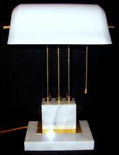 Vintage Brass Bankers Desk Lamp with Rare White Glass Shade and Marble Base