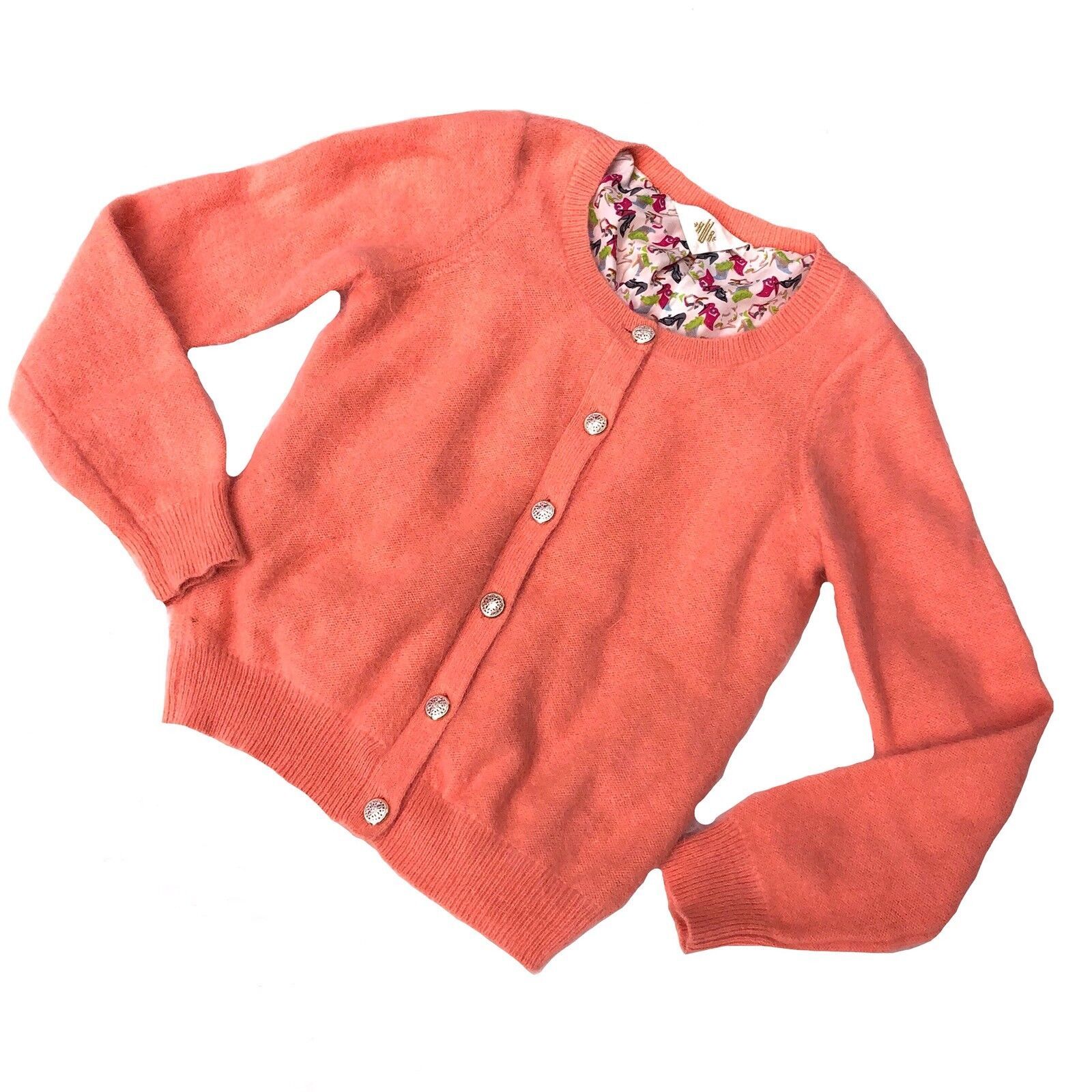 19da357a6 Anthropologie S Sweater Cardigan Angora orange Sz Womens monogram ...