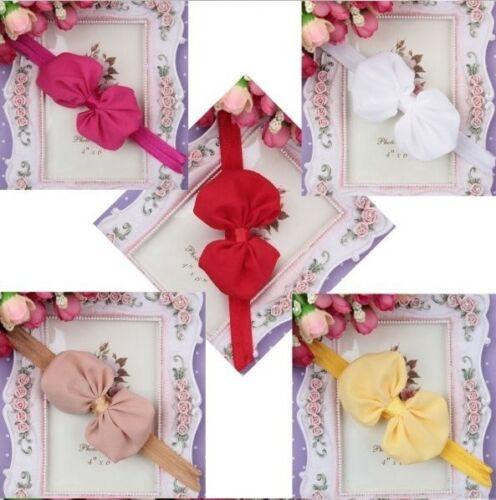 5 Farben zur Wahl BABY Haarband Mädchen CHIFFON  SCHLEIFE  Stirnband