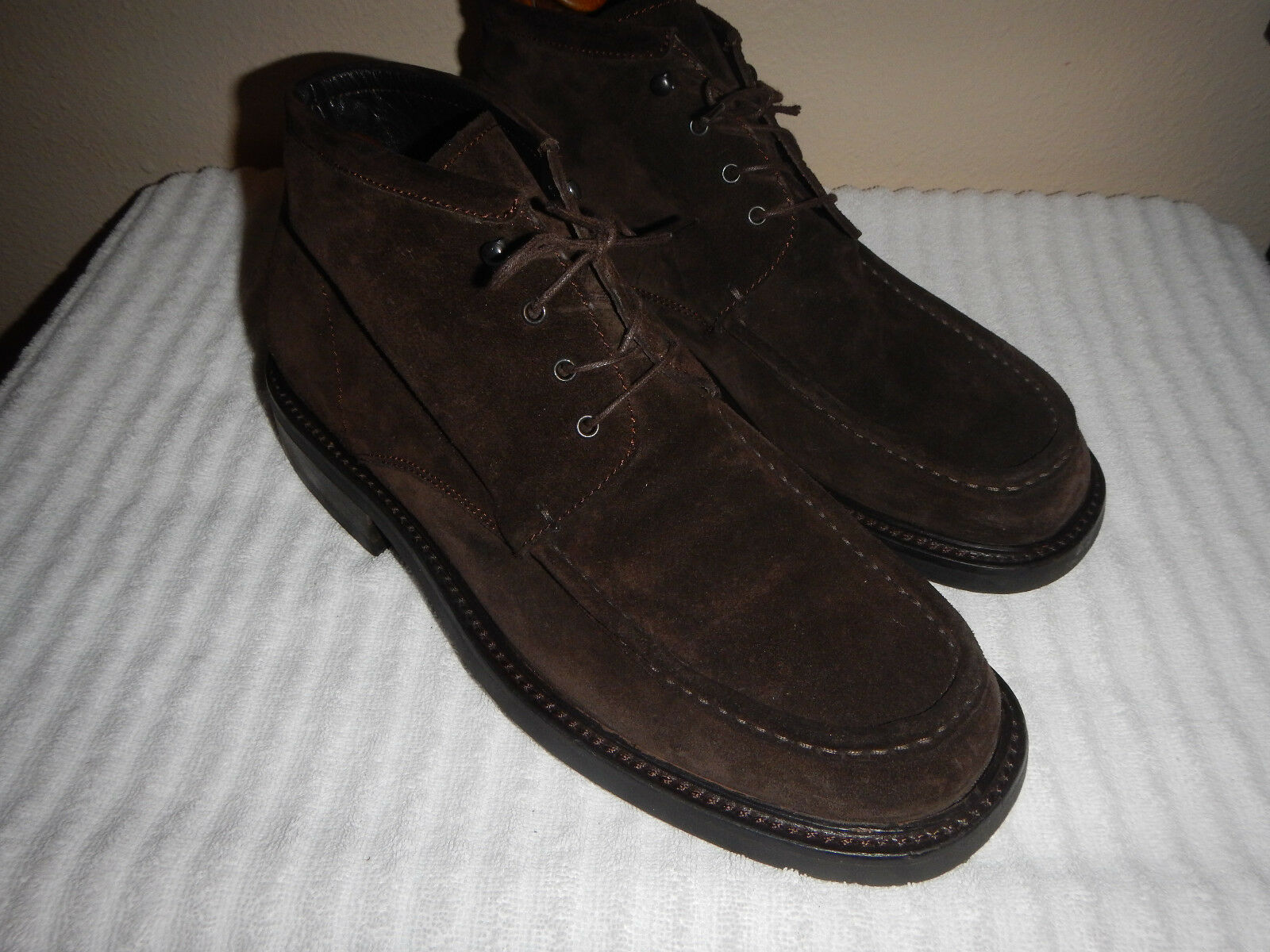 Fieramosca & Co Men's Dark Brown Suede Leather Moc Toe Lace & Hook shoes 9M