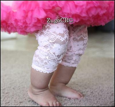 LACE LEGGINGS Baby Toddler Girl Capri Pants Black White OR Pink 0-4T NEW