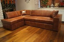 Rindsleder  Ecksofa 100% Echt Leder Eck Couch Sofa mit Schlaffunktion