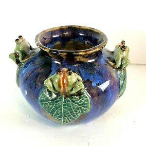 Majolica-Style-Art-Ceramic-Pottery-Vase-Planter-With-4-Frogs-Blue-Green