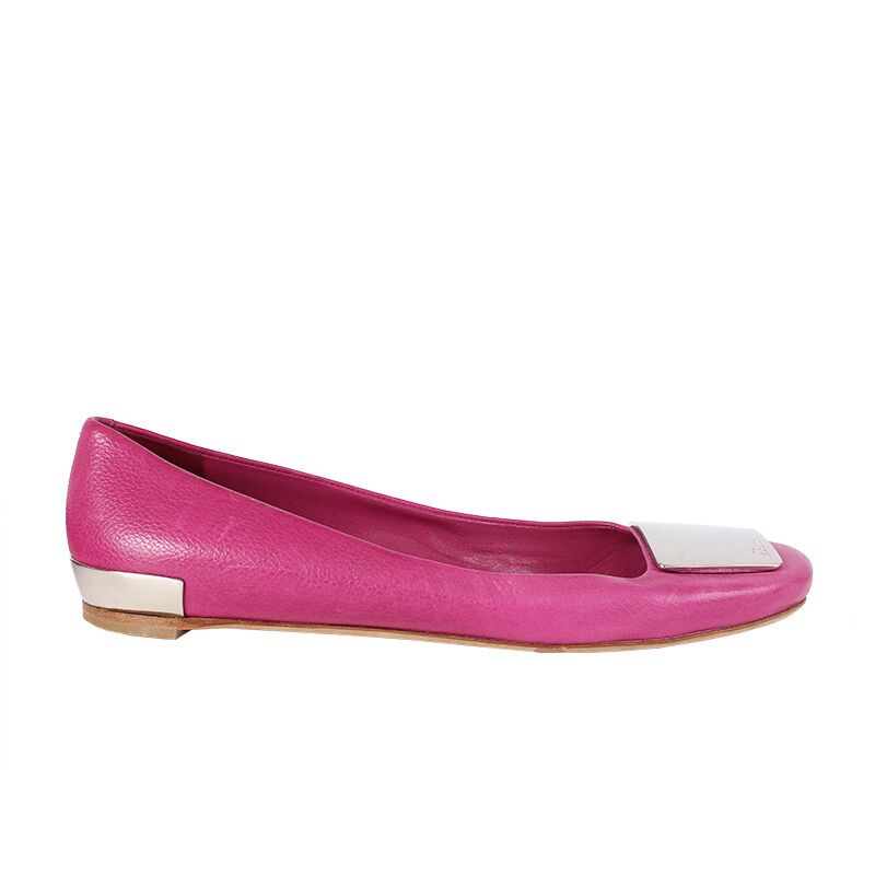 38672 auth CHRISTIAN CHRISTIAN CHRISTIAN DIOR pink leather Ballet Flats Shoes 38.5 ccf50d