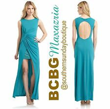 BCBG Maxazria Ariel Jade Studded High Low Skirt Draped Gown Dress M