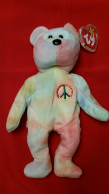 TY Beanie Baby Peace Bear MWMT Tie Dye Retired Free Shipping 49f3337473a