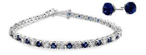 Ladies 10 Carat Created Sapphire Tennis Bracelet & Earring Set