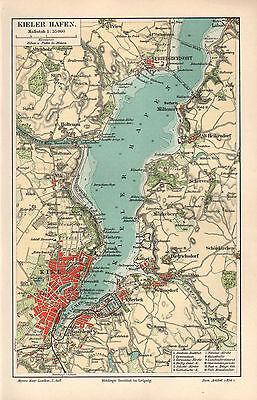 Kiel Kieler Hafen Holtenau Gaarden Wik Neumühlen Laboe Möltenort Stadtplan 1895 100% Garantie